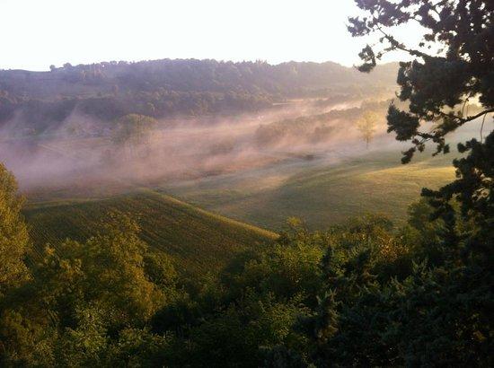 Chateau Chapeau Cornu : Vue depuis la chambre le matin