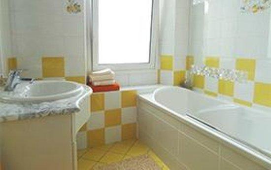 Etape aux Pays des Plantes : baignoire-douche, lavabo et W.C.