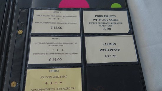 Molti Restaurant : Indicative cost of different dishes