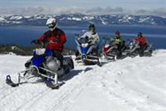 Snowmobiling at Lake Tahoe's Zephyr Cove Resort puts you on top of the world!