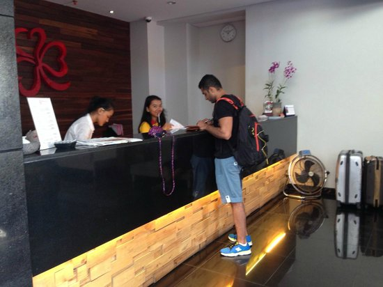 PING Hotel Seminyak Bali: my love getting us checked out!