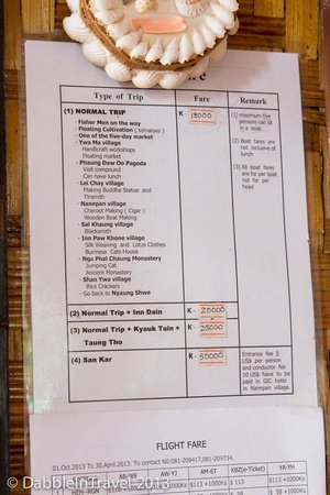 May Guesthouse Inle lake: Boat tour price and itinerary