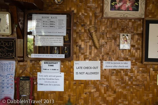 May Guesthouse Inle lake: Reception Signs
