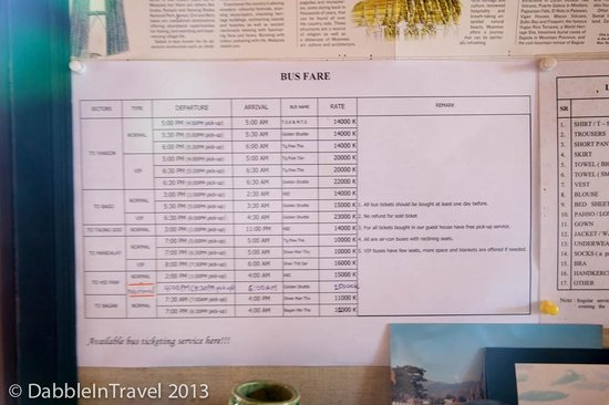 May Guesthouse Inle lake: Bus Prices to various cities as of Oct 2013