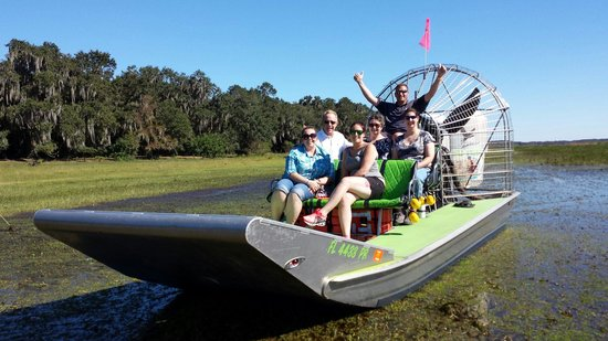 Wild Willy's Airboat Tours: Leah and me below and Mike in the captain seat