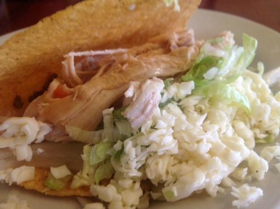 Tequila Mexican Restaurant: Chicken taco bursting with lettuce, cheese & onion