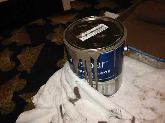Holiday Inn Express Hotel & Suites Byron: Can of Paint right in front of my door