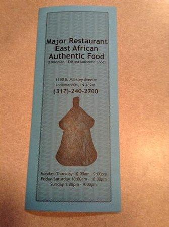 Major Restaurant: Menu