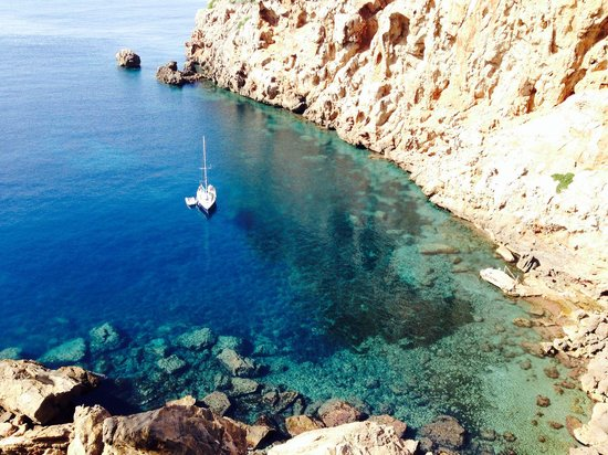 Mezzo Magic : View of the yacht from Sa Foradada restaurant
