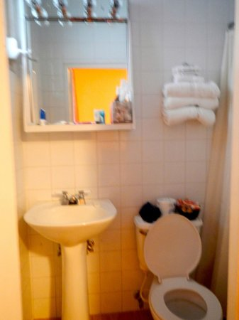 Canario Boutique Hotel : Bathroom is small. Plenty of towels, soap, and a little bottle of shampoo are provided