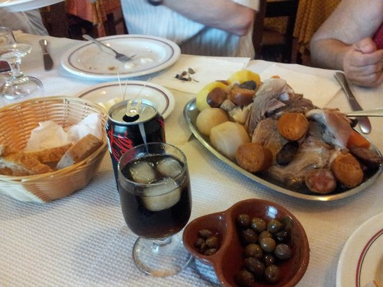 Traditional Portuguese lunch (mixed meats with vegetables ...