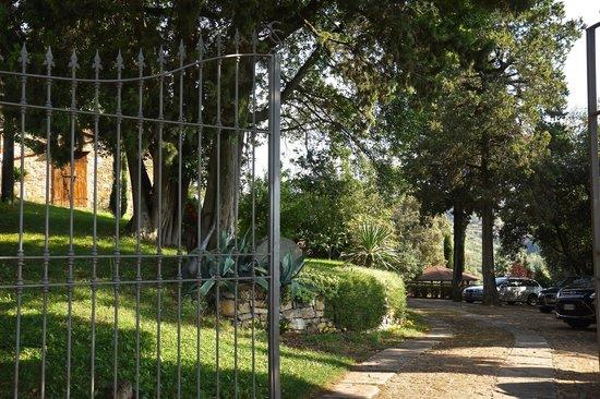Castelletto di Montebenichi: Car park--- beyond that is the pool