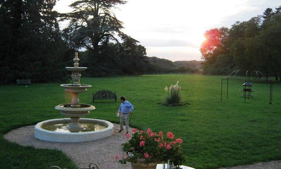 Chateau de Rancay: The back lawn of the chateau at sunset