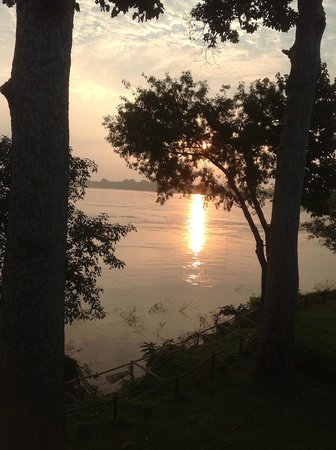 The River Resort: View from the balcony--sunrise over the Mekong
