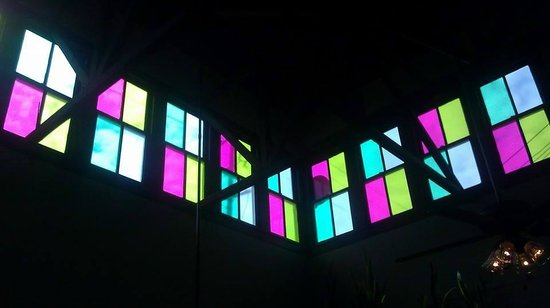Farley Girls Cafe: Colored glass skylights