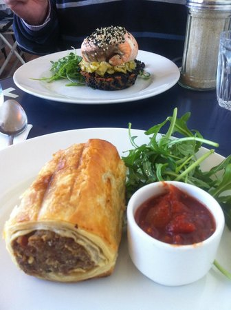Jackman & McRoss: Sausage roll (pork, apple, carrot, other yumminess) and amazing salmon thing from the specials b
