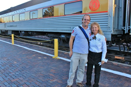 Grand Canyon Railway Hotel: James with our favorite train attendant, Sherry.