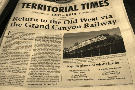 Grand Canyon Railway Hotel: Newspaper on the rain