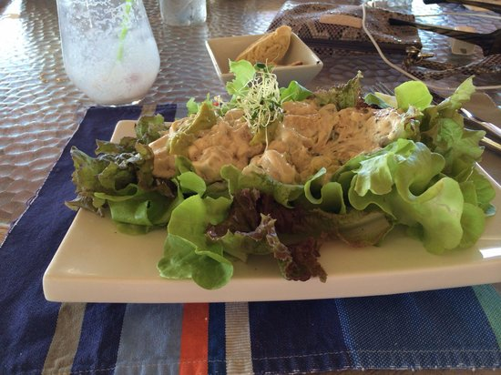 Chrishi Beach Club: Chicken creamy with avocado lemon juice and a bed of letter !!!!!! So fresh and hydroponic love