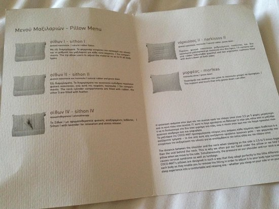 Civitel Olympic Hotel: Pillow menu!