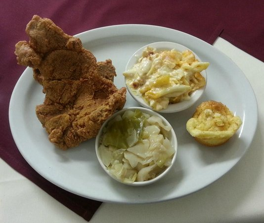 Daddy D's Suber Soulfood : Two pork chop plate, macaroni and cheese, cabbage and corn muffin