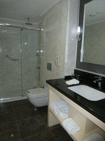 DoubleTree by Hilton Izmir - Alsancak: Bathroom - no place to hang towels