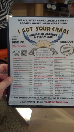 I Got Your Crabs Shellfish Market and Oyster Bar: The Menu
