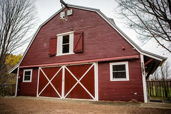 The big red barn, where events are held at West Hill House B&B.