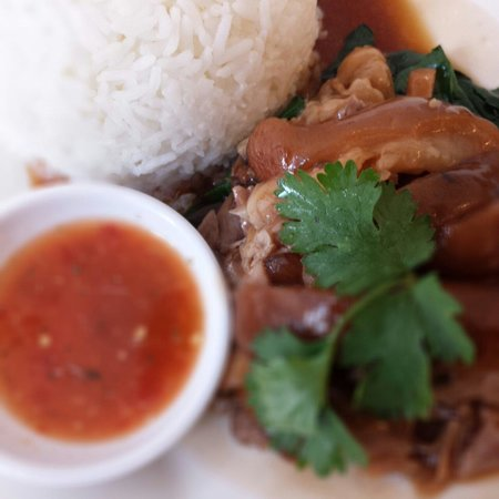 Phukets Thai Restaurant: Phukets Pork hind with rice set lunch $68 nett with soup and drink, great value.