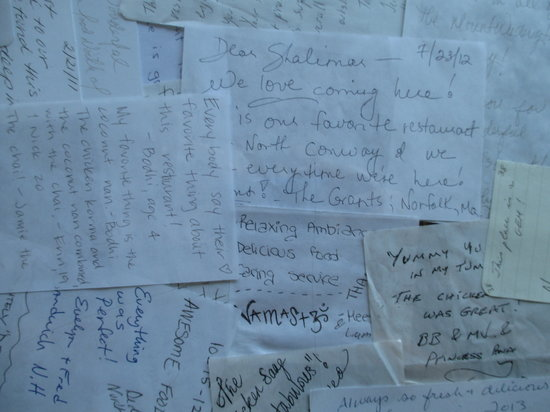 Shalimar of India: Notes Left from Customers are on Many Tables