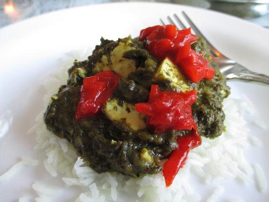 Shalimar of India: Saag Paneer on Rice with Onion Relish