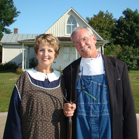 American Gothic House Visitors In Costume