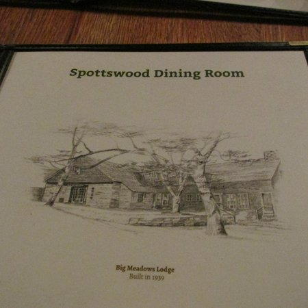 Big Meadows Lodge Dining: Menu cover