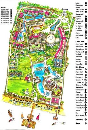 Ela Quality Resort Belek: map of the hotel which you get with your welcome pack