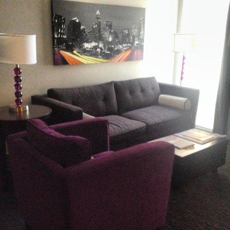 HYATT house Charlotte Center City: Sofa, chair, floor to ceiling window!
