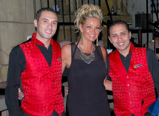 Savoy Sharm El Sheikh: Me with our waiters in the Caligula Restaurant.....Alaa and Khaled