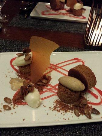 Colicchio & Sons: Pumpkin Cake with Mascarpone, Cranberry, Bourbon & Honey Graham Cracker