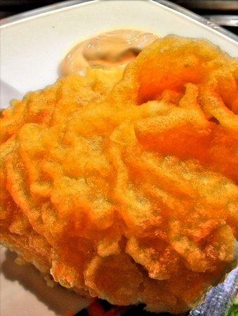 Palomeque: Textura tempura bacalao. Riquísima!.