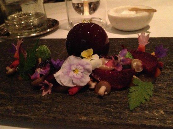 The Five Fields: Foie Gras in beetroot jelly.