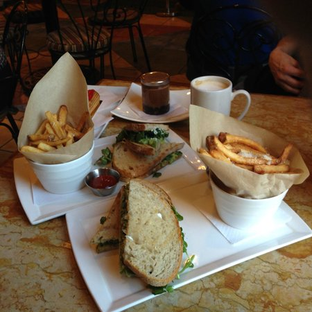 Apple Pie Bakery Cafe: Avocado, watercress, and goat cheese sandwich | Truffle fries | Assorted desserts