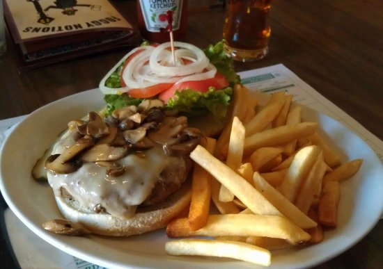 "Foggy Notions: ""Bog Burger"" with Swiss cheese, mushrooms, and fries."