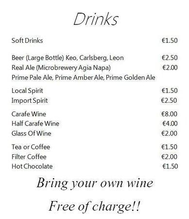 Cafe Melissa: drink menu.. BRING YOUR OWN WINE