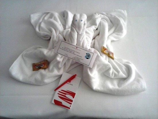 Hotel & Spa S'Entrador Playa: Cisne con tarjeta de bienvenida y dos galletas dulces