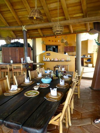 Playa Viva: Dining area and open air kitchen