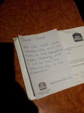 Best Western Museumhotels Delft: La lettera da parte della signora delle pulizie