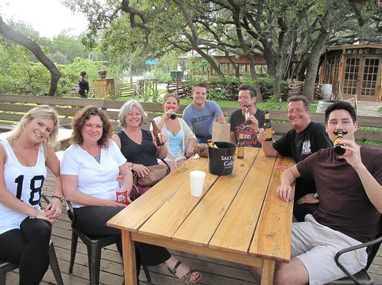 Salt Lick BBQ: English crew before the meal