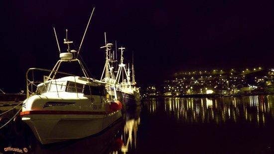 Wyspy Owcze: Ночной Фуглафьёрдур из марины (место швартовки яхт).