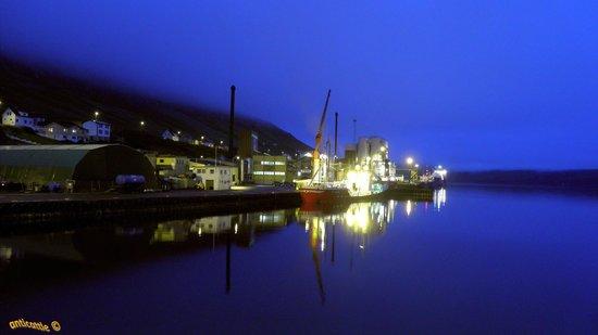 Færøyene: Гавань Фуглафьёрдур в редкую тихую ночь.