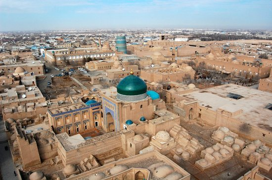 Khiva, Usbekistan: Хива, вид с минарета Ислам-Ходжа