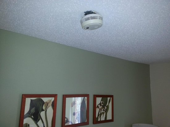 Extended Stay America - Austin - Metro: Smoke alarm dangling on the bed